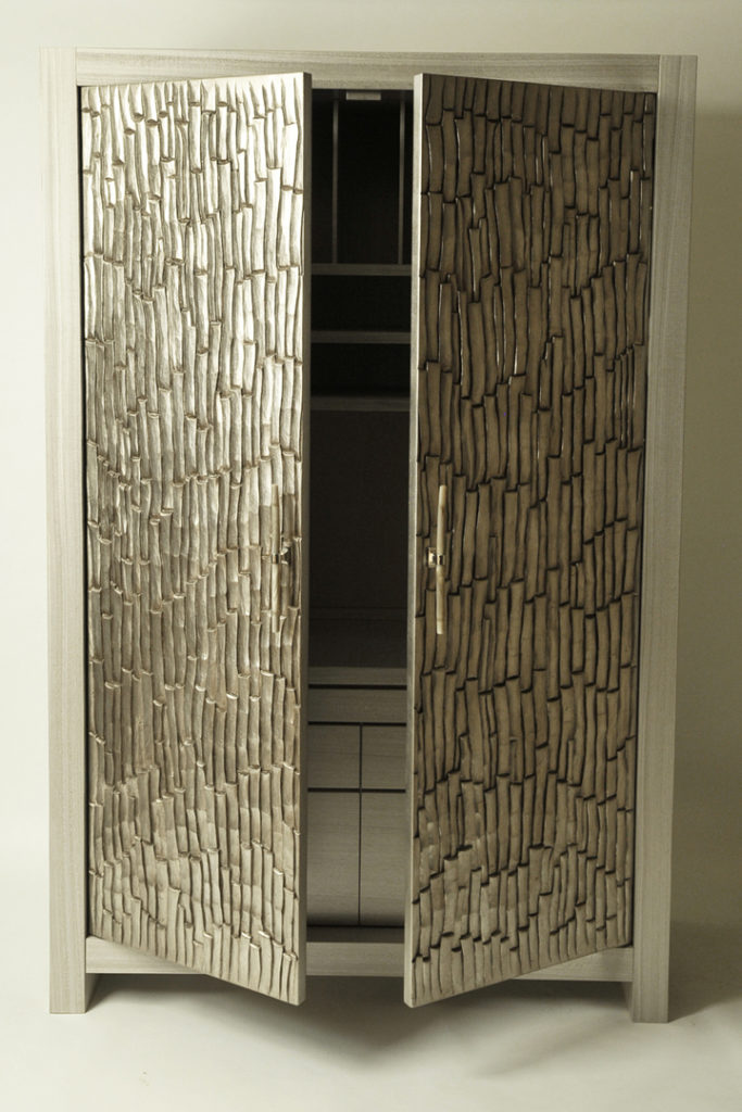 Open Doors on Silver Leaf Armoire
