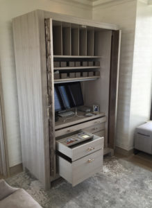Open View of Silver Leaf Armoire